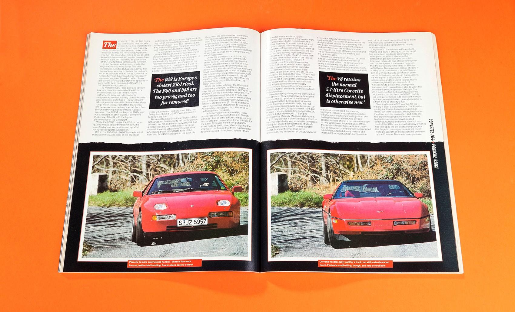 Closing the gap: Corvette ZR-1 vs Porsche 928GT (CAR achive, 1989