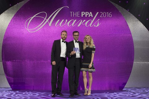 CAR digital editor-in-chief Tim Pollard collecting the PPA award from broadcaster Fearne Cotton (right)