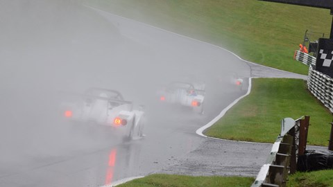 Radical SR1 Cup in the spray at Cadwell Park