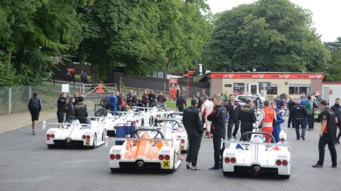 Radical SR1 Cup at Cadwell Park assembly area before qualifying
