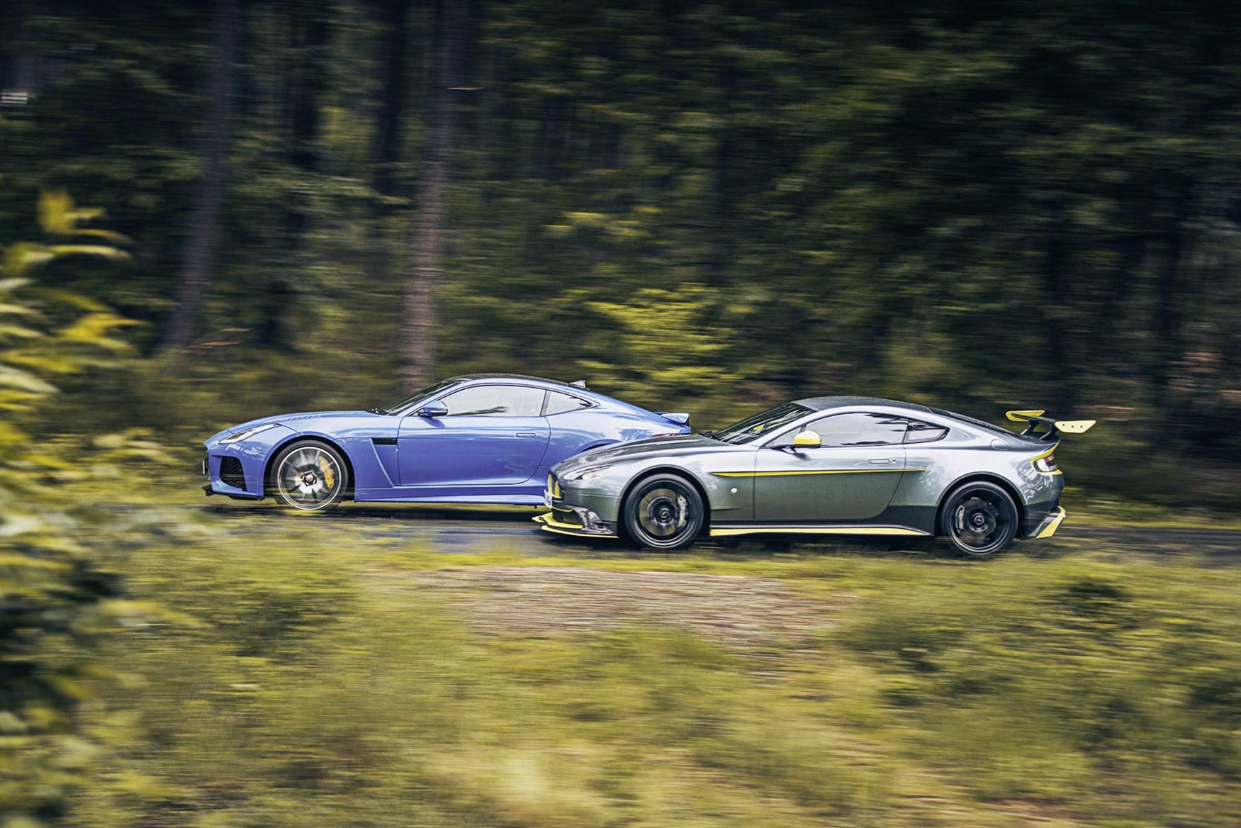 aston martin vantage gt8 vs jaguar f-type svr twin test review (2016