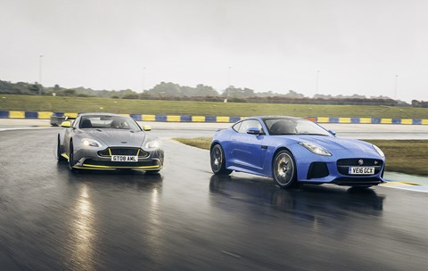 Aston Martin GT8 (left) and Jag F-type SVR