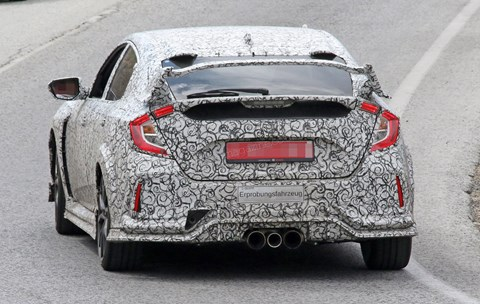 Rear spoiler and triple exhaust: the new 2017 Honda Civic Type R