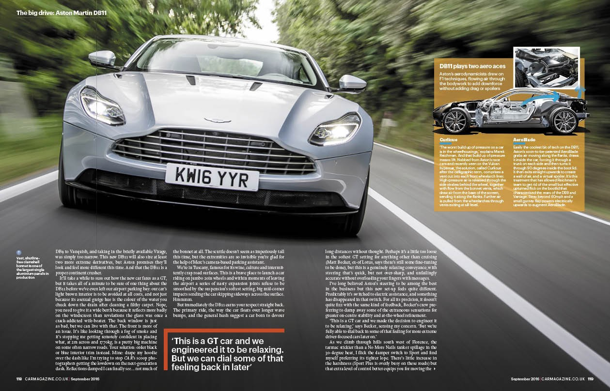 Aston Martin DB11, CAR magazine September 2016