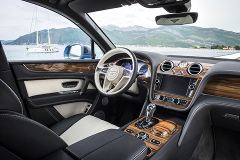 Inside cabin of new 2017 Bentley Bentayga Diesel