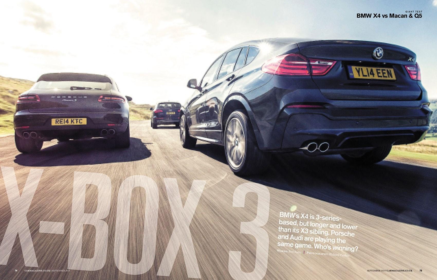 Porsche Macan vs BMW X4 vs Audi Q5 triple test in CAR magazine, September 2014