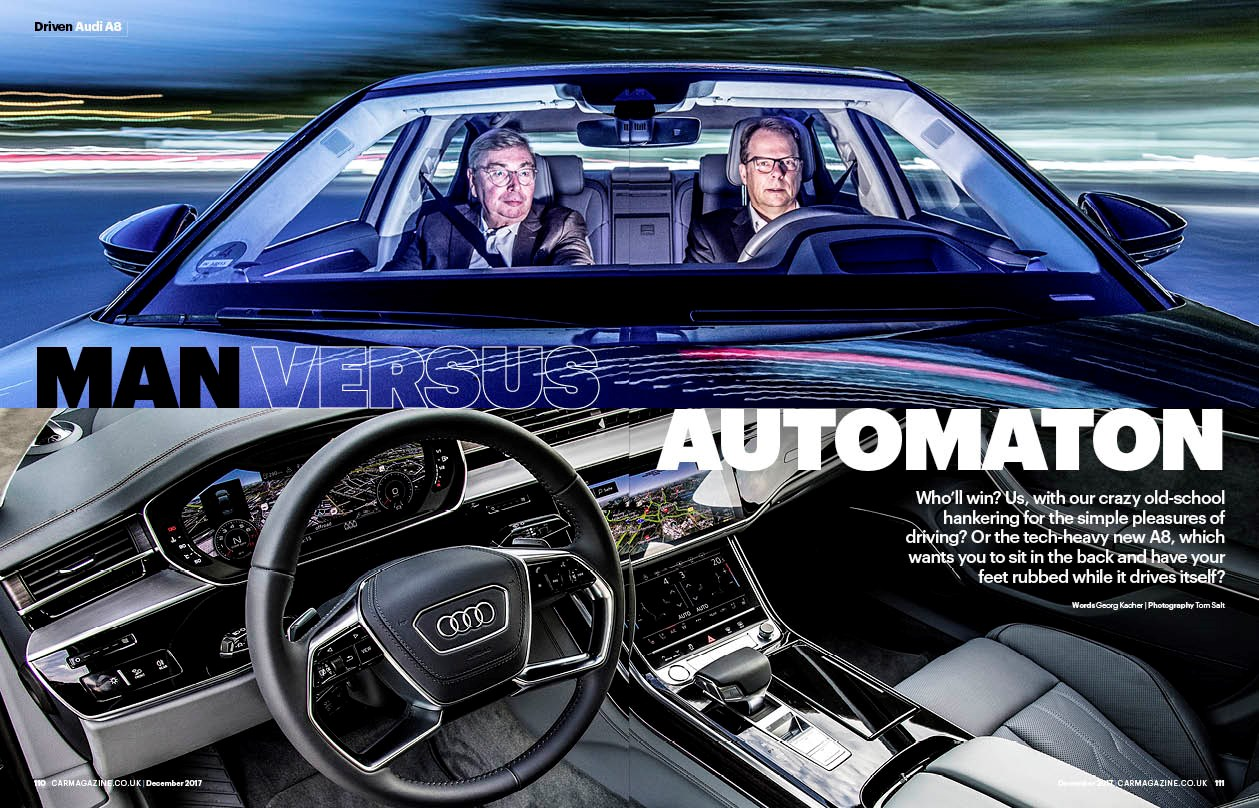 Audi A8 feature in CAR magazine, December 2017