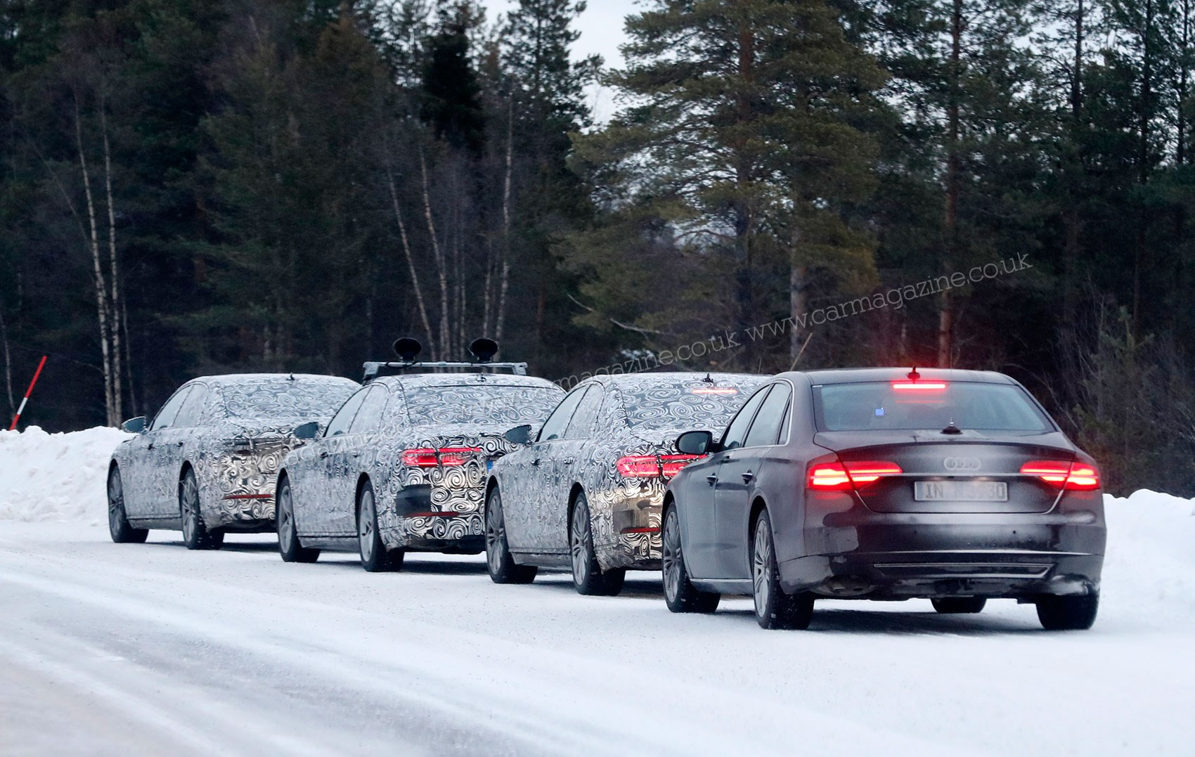 ... We caught the new Audi A8 at the Nurburgring ...