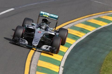 2016 Avustralya grand prixinde Nico Rosberg'in Mercedes-AMG Petronas F1 arabası