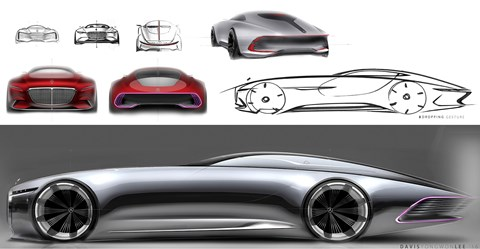 Design sketches for the Vision Mercedes-Maybach 6