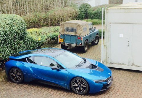 BMW i8 meets a Series Land Rover