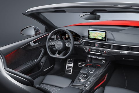 Inside the cabin of the 2017 Audi A5 Cabriolet