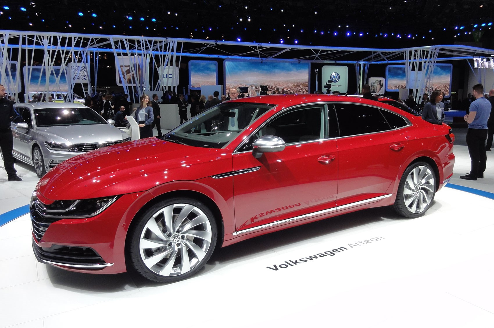 Vw Arteon Red At Geneva 2017 The New