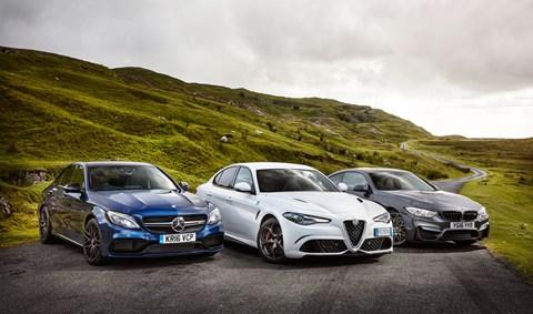 CAR magazine tests the Alfa Romeo Giulia QF vs BMW M4 vs Mercedes-AMG C63