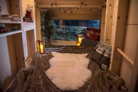 Inside the Land Rover Christmas cabin