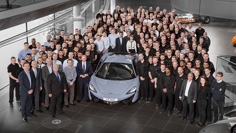 The 10,000th McLaren: the 570S, CEO Mike Flewitt and staff in Woking