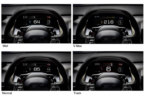 Ford GT's instrument cluster in four of its five driving modes