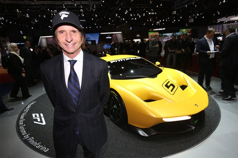 Emerson Fittipaldi with the Pininfarina EF7 at the 2017 Geneva motor show