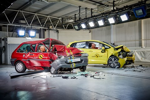 The post-crash aftermath: Rover 100 crumples, Honda Jazz stays firm