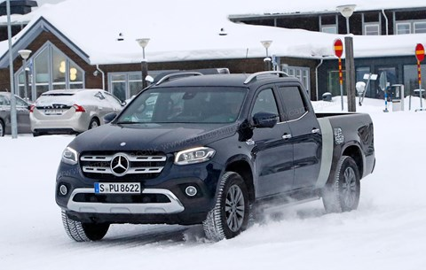 Long-wheelbase extended loaded Mercedes-Benz X-Class pick-up truck: spy photos by CAR magazine