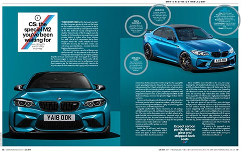 BMW M2 CS: revealed in full in the July 2017 issue of CAR magazine