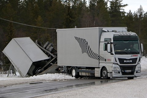 Porsche transporter winter testing prang in Sweden