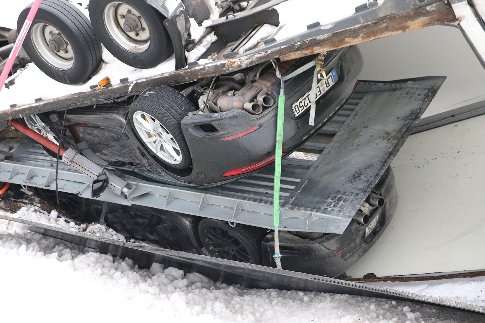 Porsche prototype prang: a transporter spills its secret stash on winter test | CAR Magazine