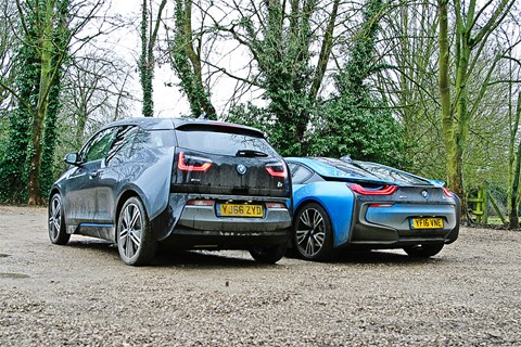 BMW i3 (left) dwarfs i8 sports car (right)