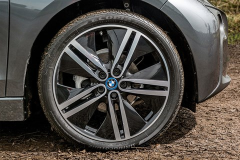 Super-skinny Bridgestone tyres on our BMW i3
