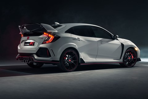 Rear end of Civic Type R has huge spoiler