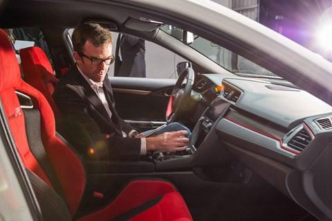 Author Tim Pollard in the new 2017 Honda Civic Type R