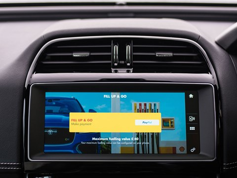 The new Shell payment app in the Jaguar XE