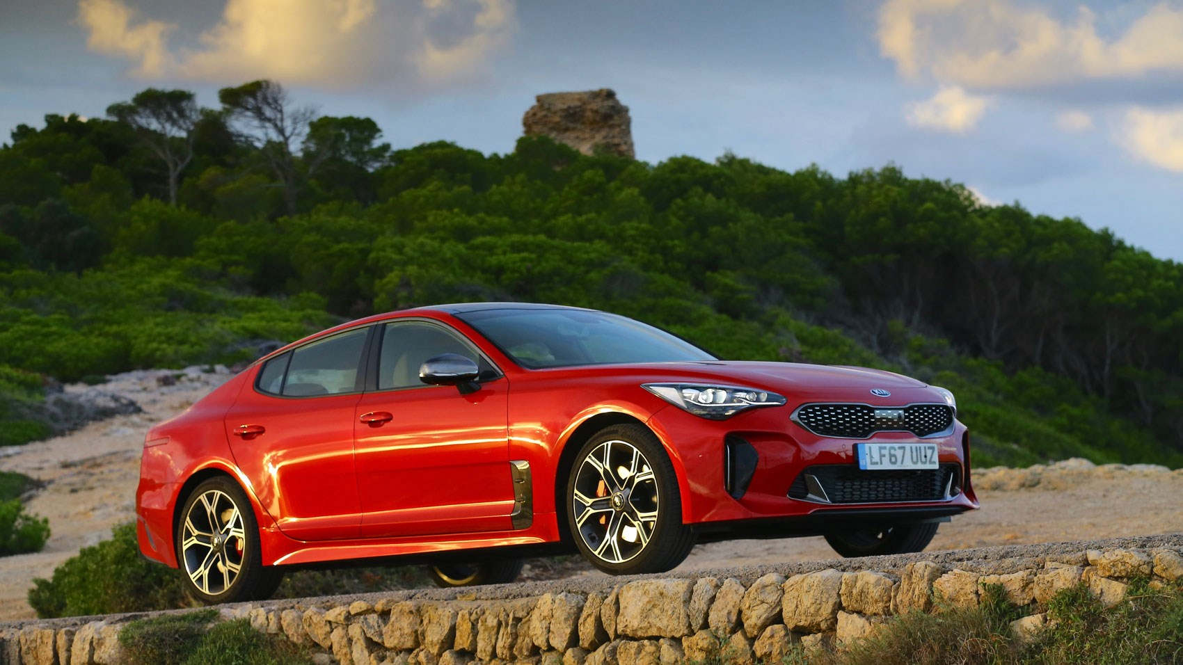 Kia Stinger front quarter sunset