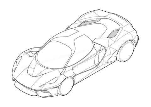 Line drawing of mystery Ferrari supercar