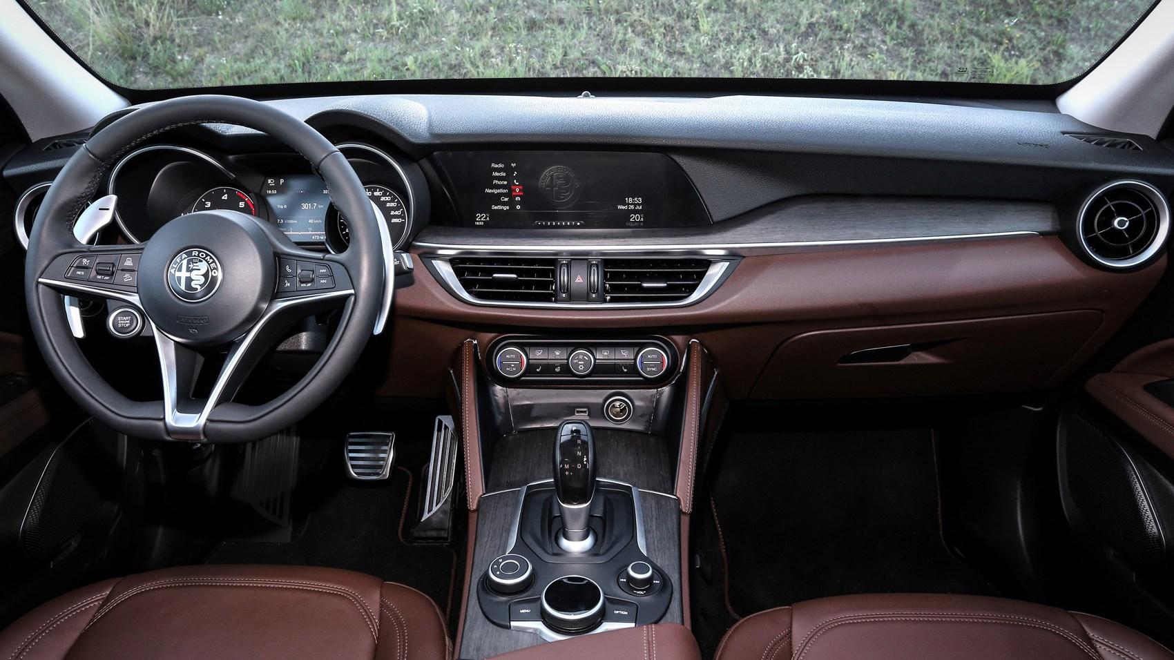 Alfa romeo stelvio 2017 review by car magazine for Alfa romeo stelvio interior dimensions