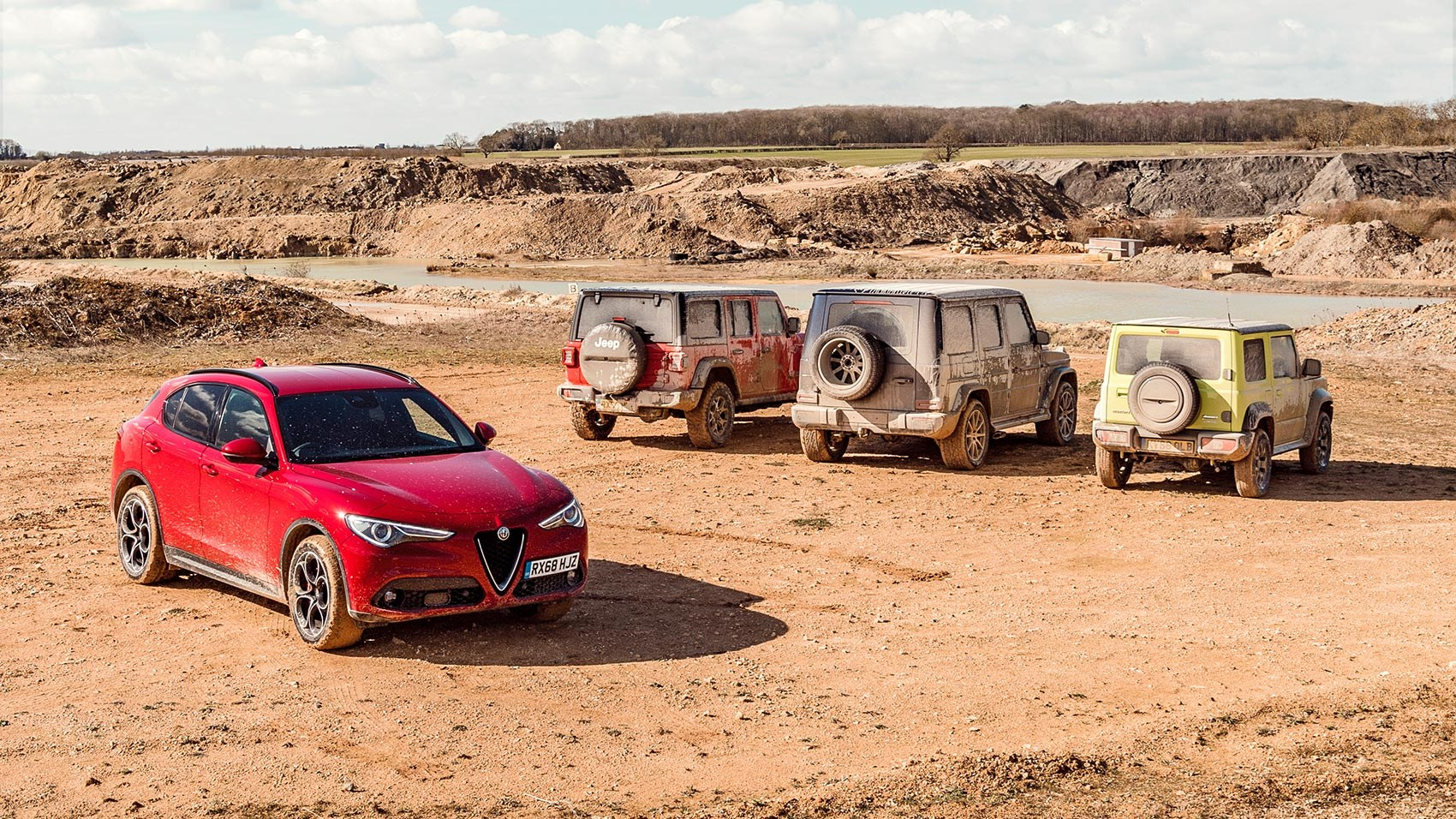 Alfa Romeo Stelvio meets a Mercedes G-Class, Suzuki Jimmy and Jeep Cherokee