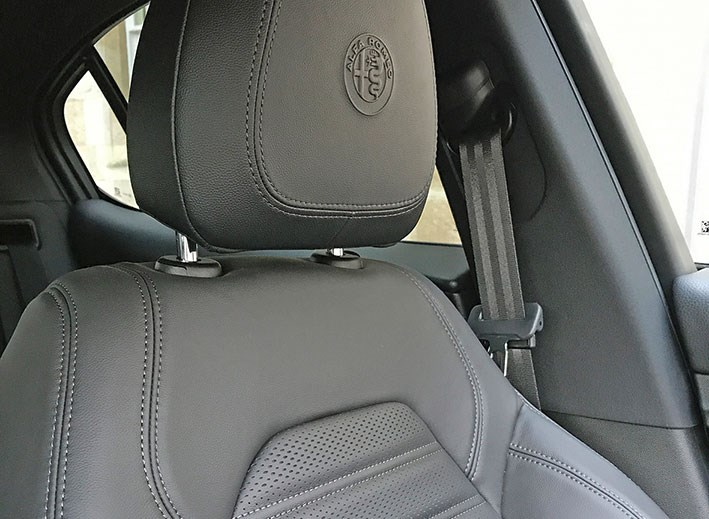 Ruched leather on our Alfa Romeo Stelvio seats