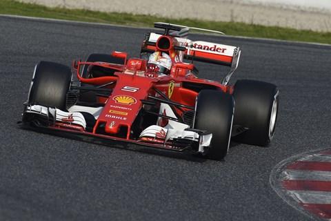 Sebastian Vettel's Ferrari at the 2017 Barcelona pre-season test