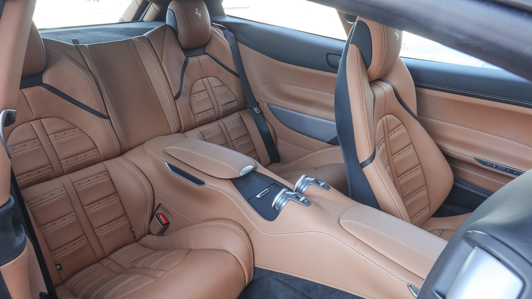 Two rear seats in Ferrari GTC4 Lusso T remarkably practical
