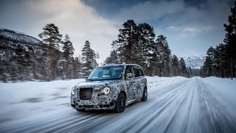 New 2018 hybrid electric London taxi on winter test