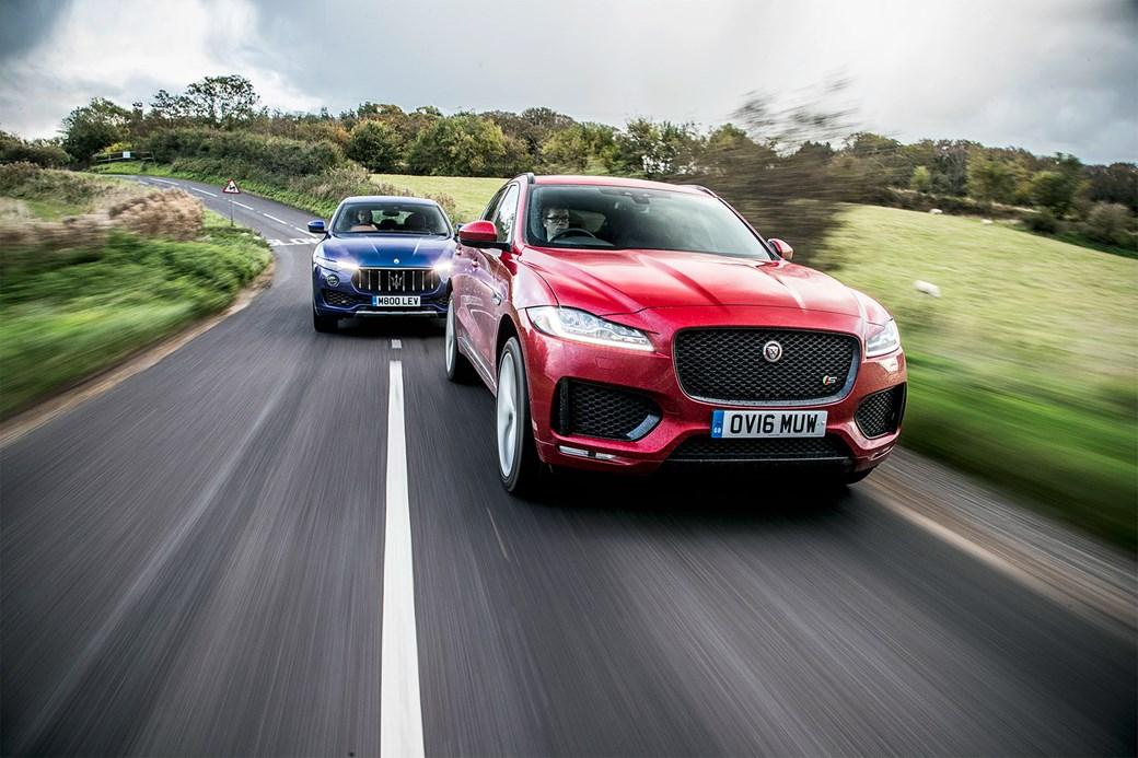 Maserati Levante chases Jaguar F-Pace. Photos by Charlie Magee