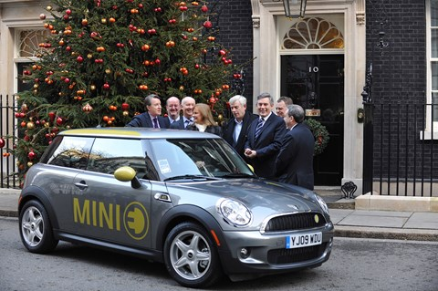 BMW's first electric Mini outside 10 Downing Street