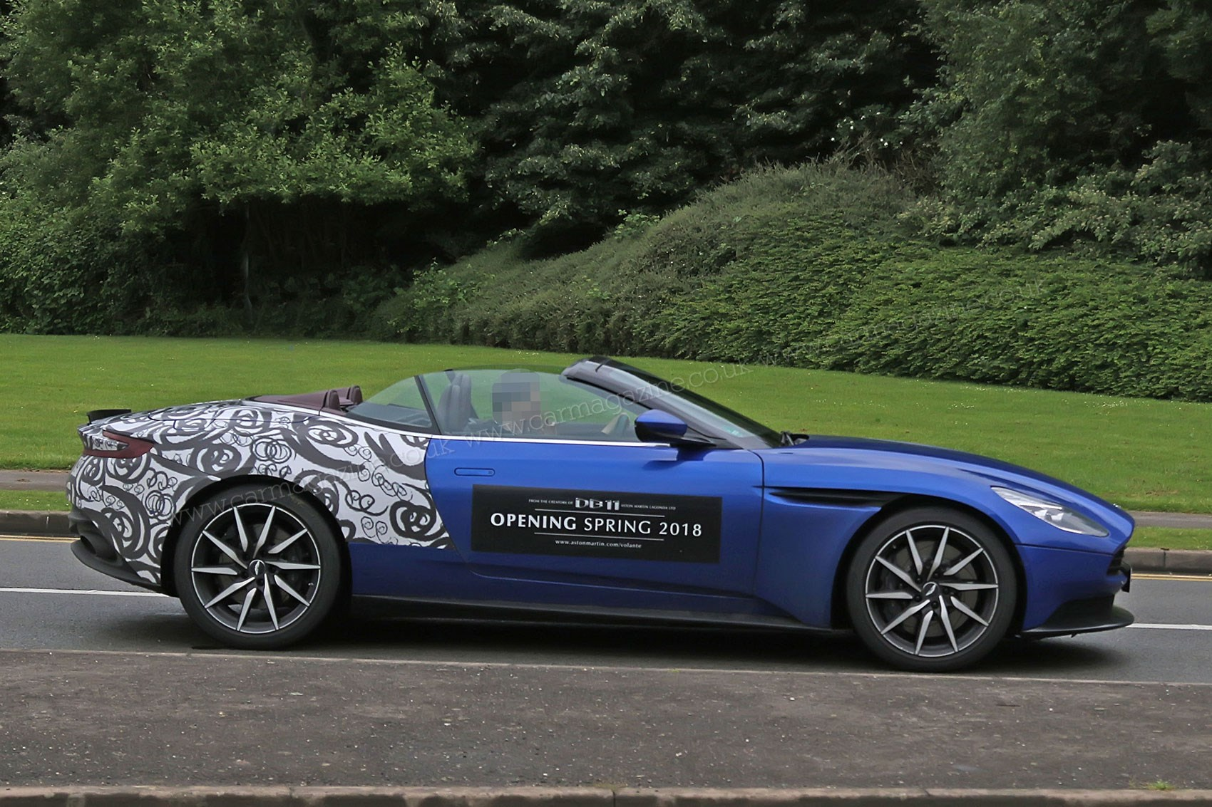 when prototypes become mobile billboards aston martin db11 volante for 2018 by car magazine. Black Bedroom Furniture Sets. Home Design Ideas