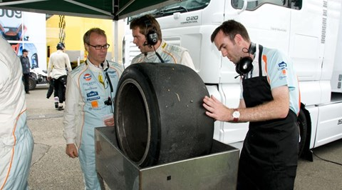 Tim Pollard shaving tyres at the 2010 Le Mans 24-hour race