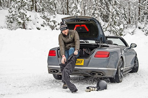 Bentley Continental GT Convertible Steve changing shoes
