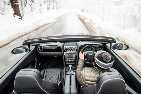 Bentley Continental GT Convertible Steve driving overhead