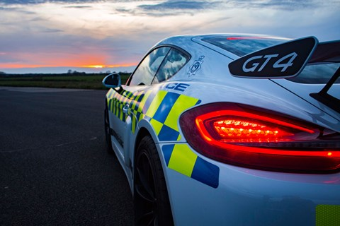 Porsche Cayman GT4 Norfolk police night spoiler