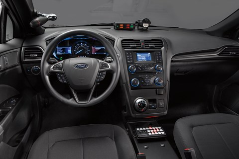 Cabin of the Ford Police Responder Hybrid Sedan