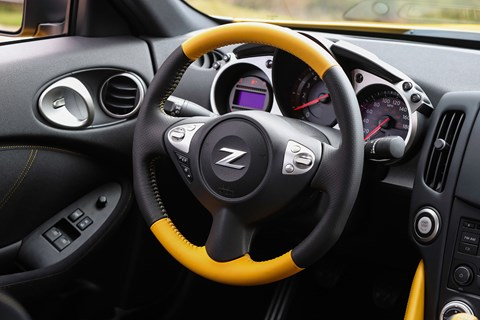 Yellow steering wheel! Inside cabin of new Nissan 370Z Heritage Edition