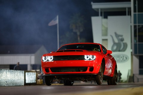 Dodge Demon pulls a wheelie